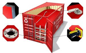 Flexitank montiert in 20' Box Container